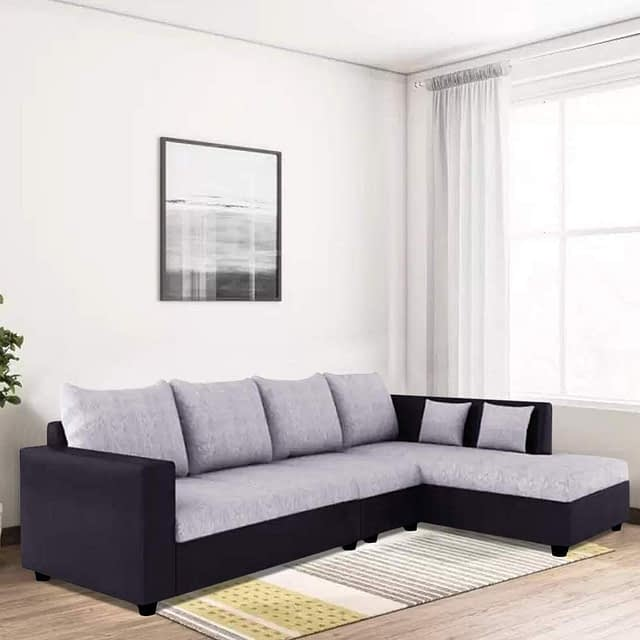 Furny 6 Seater L Shape Sofa Set with Polyester Fabric & Premium Leatherette