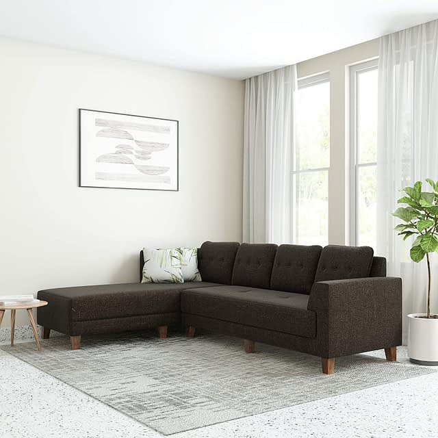 6. Amazon Sofa - Solimo Alen six Seater LHS L Shape Sofa Set for Living Room